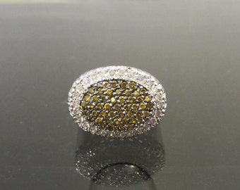 Retro Vintage Sterling Silver Yellow & White CZ High Dome Ring Size 8