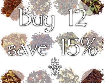 Buy 12 Teas, Save 15% - loose leaf tea, discount tea, tea gift