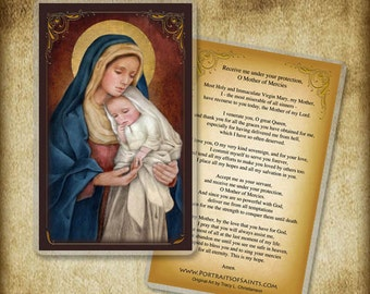 Madonna and Child (H) Holy Card or Wood Magnet  #0029