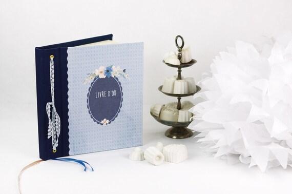 mariage Livre d'or mariage Baptême Floral fleurs aquarelle bleu Mariage bohème
