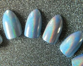 Blue Holographic false Nails.