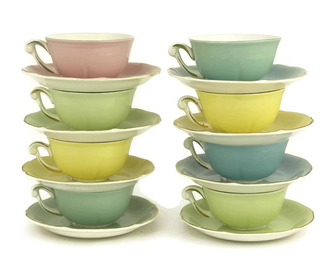 1950's Pastel Cups and Saucers. Vintage French Porcelain Demitasse Coffee Set. Pastel Kitchen Decor. French Wedding Gift.
