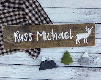 Boys Nursery Name Sign, Woodland Nursery Decor, Rustic Nursery, Custom Baby Name Sign, Personalized Baby Shower Gift, Custom Kids Name Sign