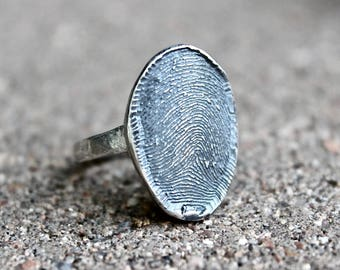 Fingerprint Ring, Full Fingerprint Ring, Memorial Fingerprint Ring, Finger Print Oval Ring, Real Full Fingerprint Ring, Sterling Silver Ring