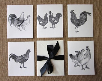 Chicken Note Cards Set of 10 with Matching Envelopes