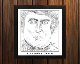Alexandre Dumas - Sketch Print - 8.5x9 inches - Black and White - Pen - Caricature Poster