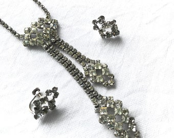 Art Deco Revival Lariat Necklace Earrings Set Clear Rhinestones Sterling Silver Phyllis 1940s Vintage Jewelry Sparkle