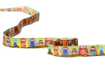 OWL themed multicolor 16mm - SC64660 - woven Ribbon