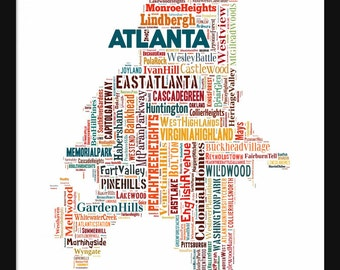 Atlanta Map Multi Color Typography Map Poster Print 2