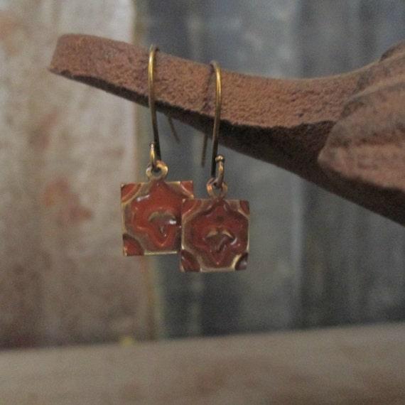 Stamped Metal Earrings, Brass Earrings, Square Earrings, Embossed Earrings, Earrings