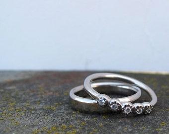 Faceted 5 stone bezel set diamond  ring palladium wedding or anniversary band