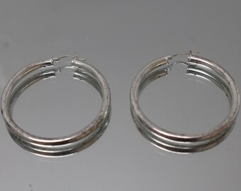 925 - Vintage Sterling Silver Large Hoop Earrings