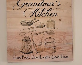 Grandma's Kitchen - Kitchen Sign - Wooden Kitchen Plaque - Grandma's Personalized Sign - Hand Painted Wooden Sign