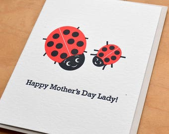 Ladybug Mother's Day Letterpress Card