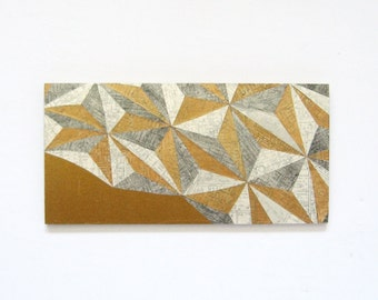 """Map Reconfigured No3 - Landscape Painting - Map Paper Collage - Geometric Mosaic Art - 9x4.5"""" Wood Panel - Mixed Media Art - Gold Wall Decor"""