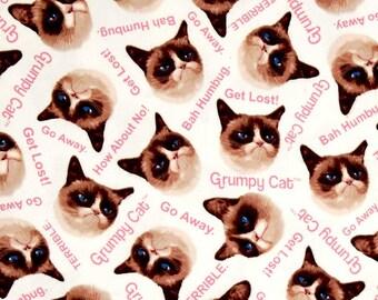 Cream Grumpy Cat Cotton Fabric