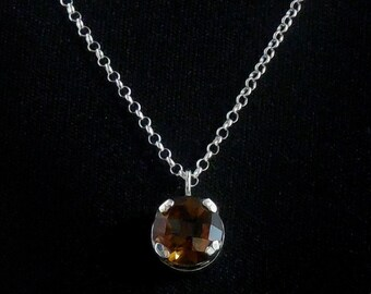 Whiskey Quartz Pendant - 10mm - Sterling Silver