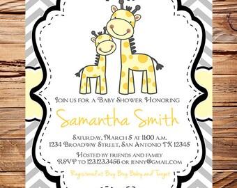 Yellow gray Giraffes Baby shower Invitation Boy, Yellow, Girl, Chevron Stripes, momma and baby Shower Invite Giraffe, Baby Shower, 1673