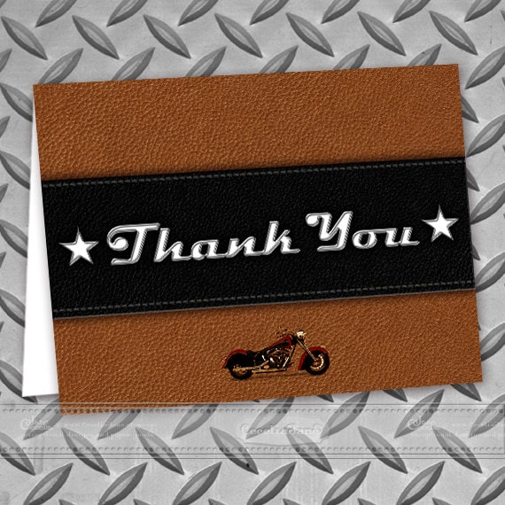 thank you cards, printable thank you cards, instant download thank you cards, Harley thank you cards, motorcycle postcards, ID120