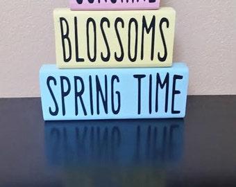 Spring Wood Blocks - Spring Decor - Wood Blocks - Spring Blocks - Easter Decor - Spring Decoration - Easter Decoration - Spring Time Decor