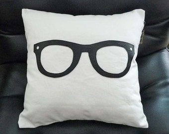 Geek Pillow Cover, Nerd Pillow, Fun Pillow Covers, 16x16, Nerdy Black Glasses, Unique Gift for Teen, Kids Birthday Gift, PillowThrowDecor