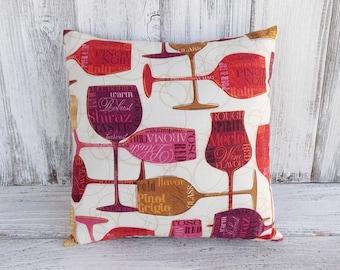 Pillow cushion wine theme, stuffed throw for home decor with wine bottles, Pinot Noir, Pinot Grigio, Chardonnay