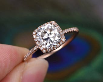 7mm Cushion cut brilliant Moissanite Engagement ring Rose gold,Diamond wedding band,Halo prong,Solid 14K Rose Gold,promise ring,gift for her