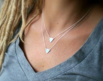 Tiny triangle sterling silver necklace - minimalist - geometric