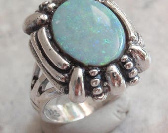 Opal Ring Sterling Silver Natural Gray Base Size 5.5 Vintage Upcycled CW0294