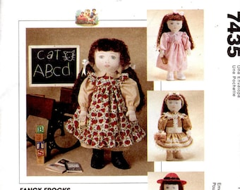 """Sewing Pattern - McCalls Crafts 7435 - Fancy Frocks - 18"""" Doll Clothes"""