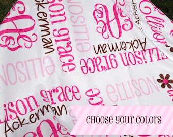 Personalized Baby Girl Blanket - Monogrammed Receiving Blanket - Custom Name Baby Blanket - Newborn Swaddling Blanket - Baby Shower Gift