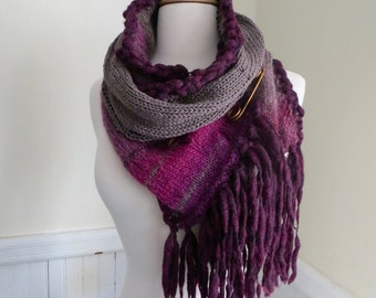 Distressed Knit Scarf--Taupe, Wine, and Berries