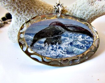 Whale Necklace, Whale Tail Pendant, Whale Jewelry, Whale Silhouette Necklace, Ocean Jewelry, Blue Sponge Coral Jewelry, Resin Jewelry