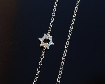 Tiny Sterling Silver Star of David Necklace Set Off Center on a Sterling SIlver Chain