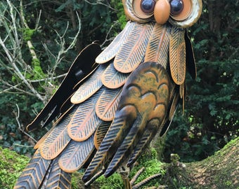 Beautiful Handcrafted, Handpainted Garden Owl  - Power Totem Animal, Wisdom, Knowledge, Magic, Omens, Vision - Great Valentines Day Gift