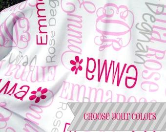 Initial Baby Blanket - Monogrammed Receiving Blanket for Girls - Custom Name Fleece Crib Blanket - Personalized Infant Swaddling Blanket