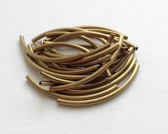1mm-ID Antique Brass Plated Tubes - 24 pieces