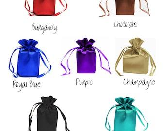 5 x 7 Zoll benutzerdefinierte Liste SATIN wählen Sie Farbe - Tunnelzug Taschen Geschenk zugunsten Partei, Braut schwarz Schokolade Burgund Schmuck