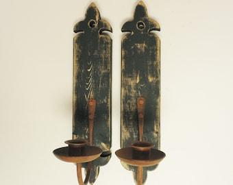Wall Sconce Pair, Wood Sconces, Metal Sconces, Wall Sconces, Candle Holders, Colonial Candle Holders, Primitive Country Decor