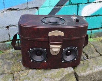The Leather Sneaky Peaker Boombox Suitcase