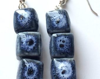 Blue Ceramic Earrings