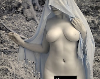 Nude in nature pagan naked art female model in forest infrared fine art photo print - Priestess in Infrared - 04 - MATURE