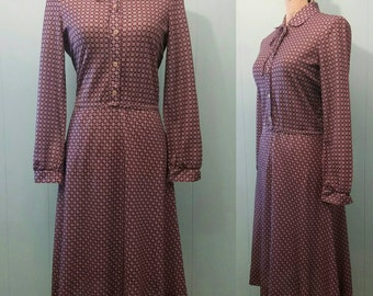 """Vintage """"Butte"""" Polyester Berry Checker Dress"""
