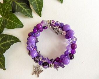 Purple Lilac Memory Wire bracelet , agate bracelet, glass beads bracelet, Wrap Around Bracelet , Multi Strand bracelet ,  charm bracelet,