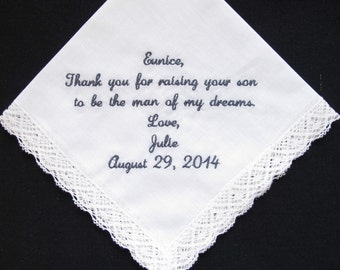 Wedding Handkerchief Embroidered for the Mother of the Groom