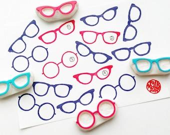 eye glasses rubber stamp | eyewear stamp | diy wedding birthday scrapbooking | planner | gift wrapping | hand carved by talktothesun