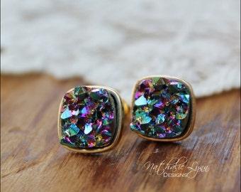 Square Druzy Earrings, Blue Druzy Earrings, Faux Druzy Earrings, Stud Druzy Earrings, Druzy Jewelry, Gemstone Earrings, Gold Earrings