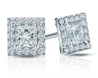14k Gold Halo Princess-Cut Diamond Stud Earrings 1.00 ct. tw. (H-I, SI2)