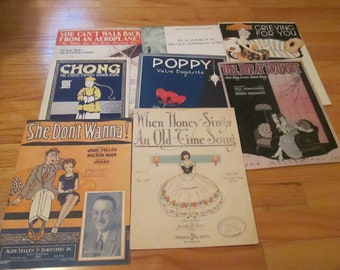 Lot of 8 Vintage Antique Piano Sheet Music 1919-1938