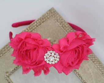 Hot Pink headbands, hot pink flower girl headbands, toddler headband, Shabby chic headbands, Girls headband, hot pink flower headbands
